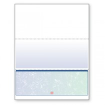 Blank Laser Bottom Check Paper, Blue/Green Prismatic