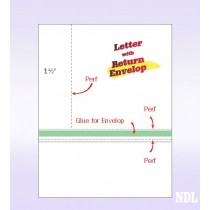 "8-1/2"" x 11"" Blank Memo Size Form-N-Envelope, Detached w/ Tear off strip"