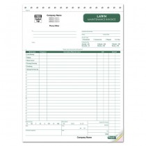 Lawn Maintenance, Landscaping Invoice, 8 1/2 X 11""