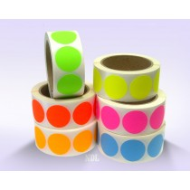 "1.5"" Circle Color Stickers, 500 Permanent Labels, 3"" Core, Assorted Colors"