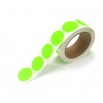 "1.5"" Circle Color Stickers, 500 Permanent Labels, 3"" Core, Green Fluorescent"