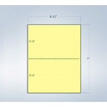 "8-1/2 x 11"" 20#,Canary, Perforated Paper, 1 Horizontal perf at 5-1/2"""