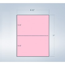 "8-1/2 x 11"" 20#, Pink, Perforated Paper, 1 Horizontal perf at 5-1/2"""