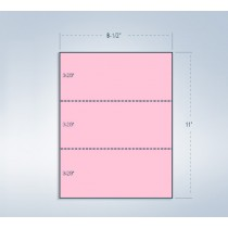 8-1/2 x 11 24# Pink Paper 2 Horizontal Perforations @ 3-2/3 & 7-1/3 from bottom