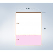 "8-1/2 x 11"" Pink & White Paper With 1 Horizontal perf @ 3-1/2"""