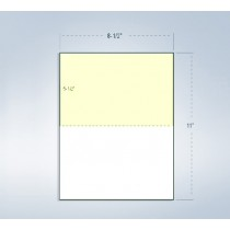 "8-1/2 x 11"" 24#, White & Canary Perforated Paper, 1 Horizontal perf at 5-1/2"""