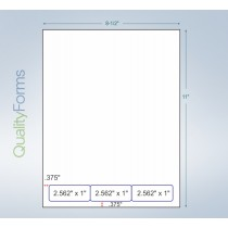Integrated Label Form 3 Labels  2.5 x 1