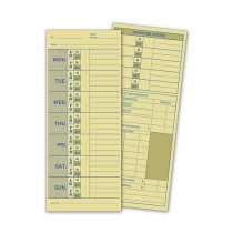 Weekly Time Card, Manila Tag Stock, 3 1/2 x 8 1/2""
