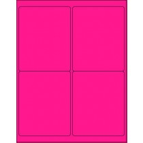 "8-1/2"" x 11"" Pink Fluorescent 4 Labels per Sheet 4 x 5"