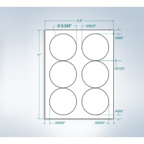 "8-1/2"" x 11"",6 Labels, per Sheet,3.333"" x 3.333"""