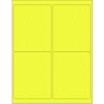 "8-1/2"" x 11"" Yellow Fluorescent 4 Labels per Sheet 4 x 5"