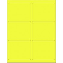 "8-1/2"" x 11"" Yellow Fluorescent 6 Labels per Sheet 4 x 3-1/3"