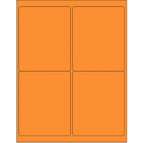 "8-1/2"" x 11"" Orange Fluorescent 4 Labels per Sheet 4 x 5"