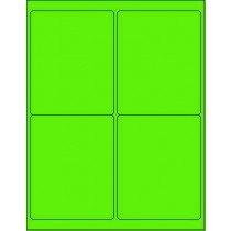 "8-1/2"" x 11"" Fluorescent Green 4 Labels per Sheet 4 x 5"