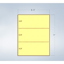"""8-1/2 x 11"""" 24# Canary Paper 2 Horizontal Perforations @ 3-2/3 & 7-1/3 from bottom"""