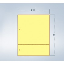 """8-1/2 x 11"""" Canary 24# Paper 1 Horizontal Perforation 3"""" from bottom"""