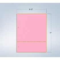"8-1/2 x 11 Pink 24# Paper 1 Horizontal Perforation @ 3"" from bottom"