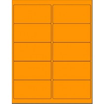 "8-1/2"" x 11"" Fluorescent Orange 10 Labels per Sheet 4 x 2"