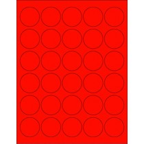 "8-1/2"" x 11"" Red Fluorescent 30 Labels per Sheet 1.5"" Round"