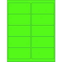 "8-1/2"" x 11"" Fluorescent Green 10 Labels per Sheet 4 x 2"