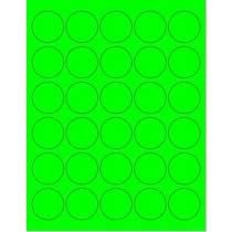 "8-1/2"" x 11"" Green Fluorescent 30 Labels per Sheet 1.5"" Round"