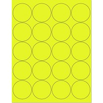 "8-1/2"" x 11"" Yellow Fluorescent 20 Labels per Sheet 2"" Round"