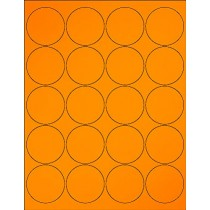 "8-1/2"" x 11"" Orange Fluorescent 20 Labels per Sheet 2"" Round"