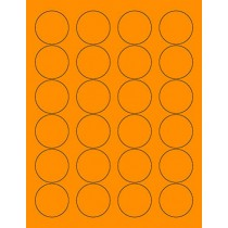 "8-1/2"" x 11"" Fluorescent Orange 24 Labels per Sheet 1.66"" Round"