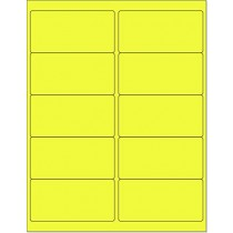 "8-1/2"" x 11"" Yellow Fluorescent 10 Labels per Sheet 4 x 2"