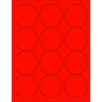 "8-1/2"" x 11"" Red Fluorescent 12 Labels per Sheet 2.5"" Round"