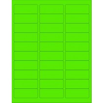 "8-1/2"" x 11"" Fluorescent Green 30 Labels per Sheet 1 x 2-5/8"