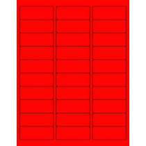 "8-1/2"" x 11"" Red Fluorescent 30 Labels per Sheet 1"" x 2-5/8"""