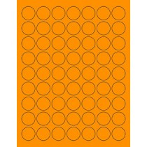 "8-1/2"" x 11"" Orange Fluorescent 63 Labels per Sheet 1"" Round"