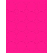 "8-1/2"" x 11"" Pink Fluorescent 20 Labels per Sheet 2"" Round"