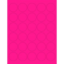 "8-1/2"" x 11"" Pink Fluorescent 30 Labels per Sheet 1.5"" Round"