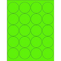 "8-1/2"" x 11"" Fluorescent Green 20 Labels per Sheet 2"" Round"