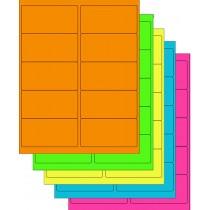 "8-1/2"" x 11"" Assorted Fluorescent 10 Labels per Sheet 4""x 2"""