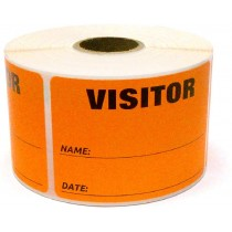 "3"" x 2"" Labels Pass 500 Labels  Orange ""Visitor "" Labels  1"" Core"