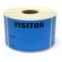 "3"" x 2"" Labels Pass 500 Labels  Blue ""Visitor "" Labels  1"" Core"