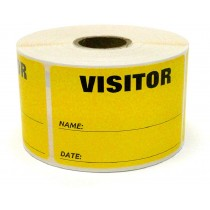 "3"" x 2"" Labels Pass 500 Labels Yellow ""Visitor "" Labels  1"" Core"