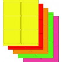 "8-1/2"" x 11"" Assorted Fluorescent 6 Labels per Sheet 4"" x 3-1/3"""