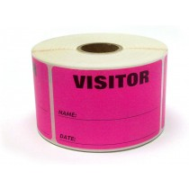 "3"" x 2"" Labels Pass 500 Labels  Pink ""Visitor "" Labels  1"" Core"