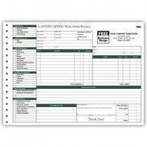 Landscaping Work Order / Invoice, 11 X 8 1/2""