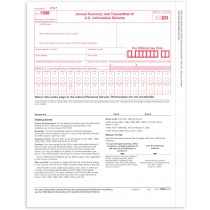 1096 Transmittal 2020 Tax Forms, Pack of 25, for Laser or Inkjet Printers, Quickbooks and Other Accounting Software Compatible