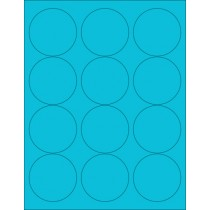 "8-1/2"" x 11"" Blue Fluorescent 12 Labels per Sheet 2.5"" Round"
