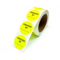 "2"" Inventory Control/Date 500 Permanent Labels  Green ""Checked by"" Labels  3"" Core"