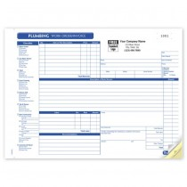 HVAC Plumbing Work Order,  Horizontal, Form and invoice
