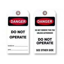 Danger Do Not Operate Tags, White Vinyl.  Two Sided
