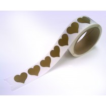 "1-1/4"" Heart Shape  Gold Scratch Off  Label Stickers"