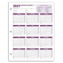 Work Tracker Attendance Calendar Cards 8 ½ X 11